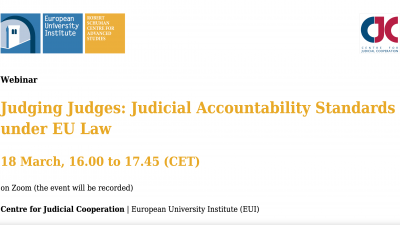 Permalink to:New webinar – Judging Judges: Judicial Accountability Standards under EU Law