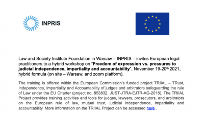 Permalink to:Call for Applications – Freedom of expression vs. pressures to judicial independence, impartiality and accountability | November 19-20th2021